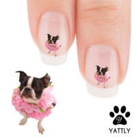 """Boston Terrier """"Floral Beauty"""" Nail Art Decals ( NOW 50% MORE FREE)"""
