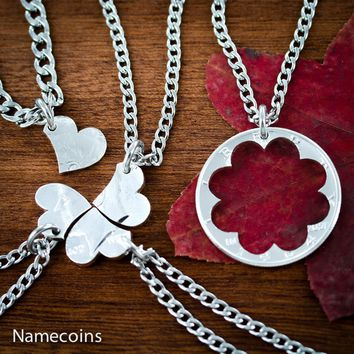 5 Piece Heart Puzzle Necklaces, Family Jewelry