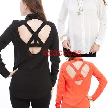 SeXY WoMeNS ToP BLouSe SHiRT TuNiC LoNG SLeeVe BuTToN DowN Skull CuTOuT BaCk S-L