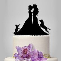 Lesbian wedding cake topper, same sex cake topper, mrs and mrs wedding cake topper with cat and dog, lesbian silhouette, bride and bride
