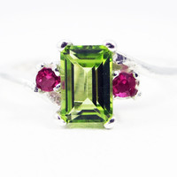 Peridot and Ruby Accent Ring Sterling Silver, August Birthstone Ring, Emerald Cut Peridot Ring, Peridot Gemstone Ring, July Birthstone Ring