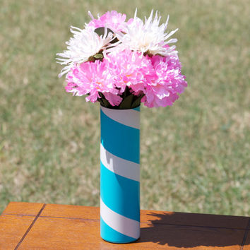 Upcycled Teal Candy Striped Glass Vase