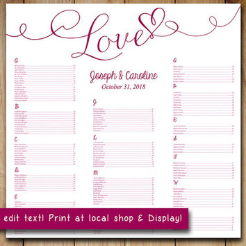 """Wedding Seating Chart Template 