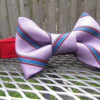 Dog collar and Bow Tie - READY To SHIP  Purple Striped Bowtie and Red Collar - wedding, bowtie dog collar
