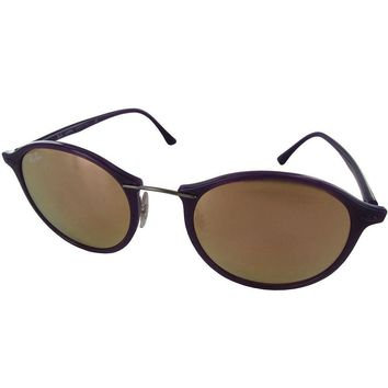 Ray Ban Womens Rb4242 Round Fashion Sunglasses Violet/copper Mirror