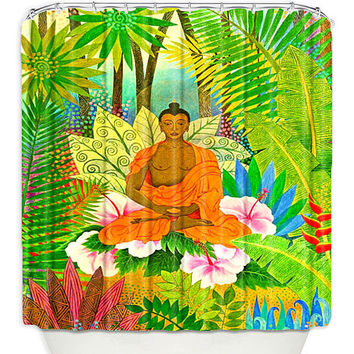 Artistic Shower Curtains by DiaNoche Designs, Buddha in the Jungle