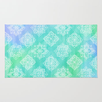 Soft Doodle Pattern in White, Purple, Mint & Aqua Area & Throw Rug by micklyn | Society6