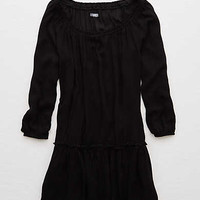 Aerie Off-The-Shoulder Ruffle Dress, True Black