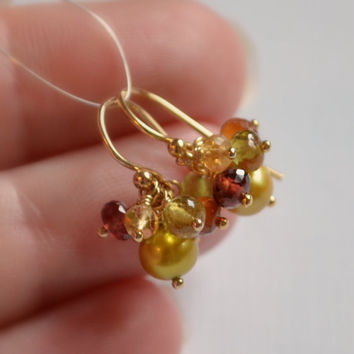 Gemstone Cluster Earrings, Spessartite Grossular Garnet, Vesuvianite, Olive Green Pearl, Autumn Colors, Gold Jewelry, Free Shipping