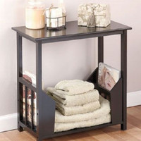 Table End Lamp Foyer Entry Wooden Black Ebony Magazine Rack Side Sofa Organizer