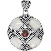 Genuine Pearl with Mozambique Garnet Pendant