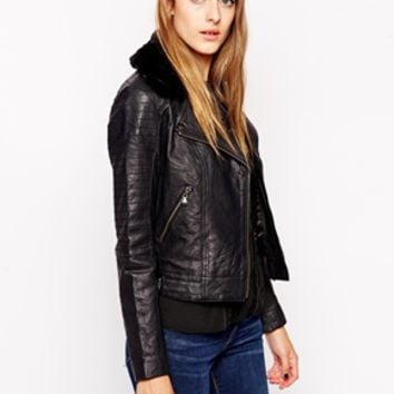 Parka London Jules Leather Jacket with Detachable Collar - Black