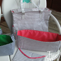 Gray Chevron Diaper Bag Collection with Pink Detailing