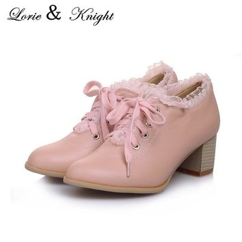 Hot Sweet Lolita Retro Lace Shoes Womens Chunky Lace Up Oxford Shoes
