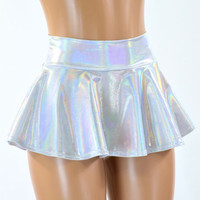 Flashbulb Holographic Rave Mini Skirt