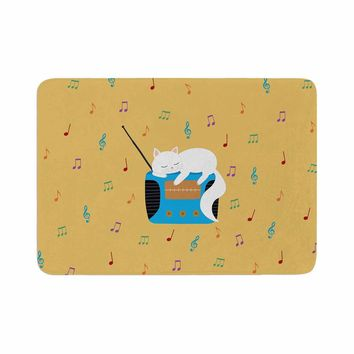 "Cristina Bianco Design ""Sleeping Cat - Vintage Radio"" Yellow White Illustration Memory Foam Bath Mat"