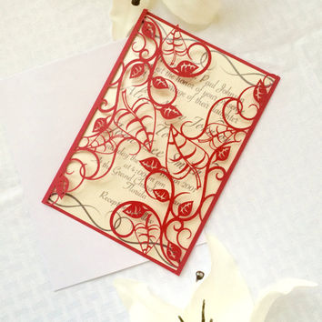red vines and leaves gatefold wedding invitation detailed cut fall gold leaf