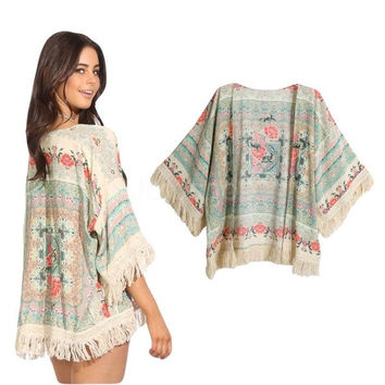 New Fashion Retro Women Boho Kimono Floral Print Fringe Open Front Shawl Loose  Cardigan Blouse Khaki G0752|42301 = 5709654913
