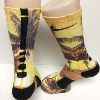 Custom Palm Beach Sunset All New Nike Elite Socks