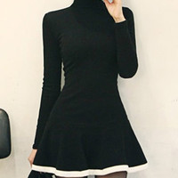 Black Turtleneck Long Sleeve Flounce Dress