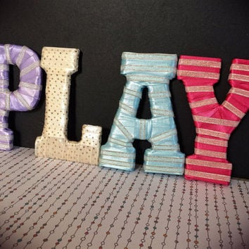 Playroom Decor/Baby Girl Nursery Decorative Letters by Tightly Wound Designs