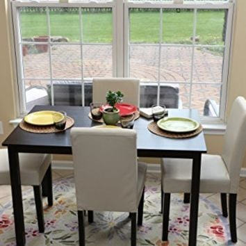5 PC Ivory Leather 4 Person Table and Chairs ivory Dining Dinette - Ivory Parson Chair