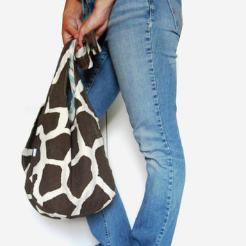Giraffe Purse. Mom Bag. Modern Diaper Bag. Animal Print Hobo Bag. Over Shoulder or Cross Body Bag. Fabric Purse. Fall/Winter Line.