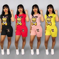 MOSCHINO Fashion Women Casual Bear Pattern Short Sleeve Top Shorts Two-Piece