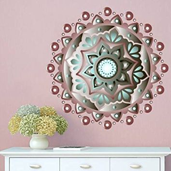 Wall Decal Mandala Full Color Vinyl Sticker Decals Colorful Floral Home Decor Boho Bohemian Bedroom Ornament Moroccan Pattern Namaste EN4 (17x17)