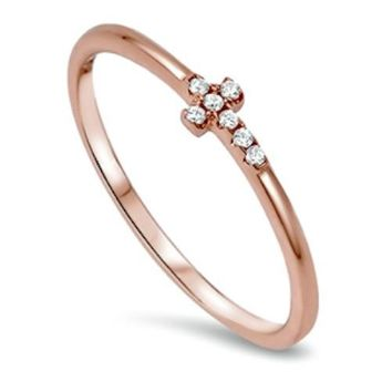 .925 Sterling Silver Cross Sideways Rose Gold Ring CZ Ladies and Kids Size 2-10 Midi Thumb Toe