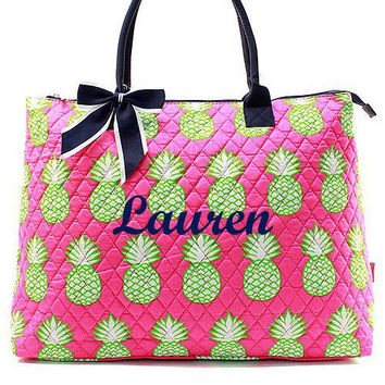 Monogrammed Tote Bag  Pink and Navy  Pineapple Monogrammed Tote Bag  Quilted Large Tote Bag
