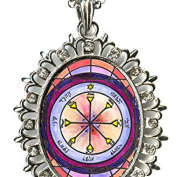 Solomons 4th Sun for Seeing the Reality in Others Huge Silver Medallion Rhinestone Pendant
