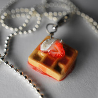 Strawberry Waffle Necklace, Miniature Food Jewelry