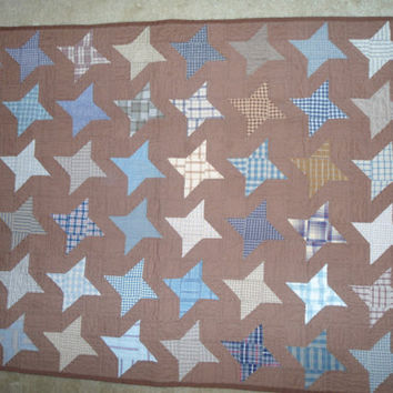 Quilt Wall Hanging Primitive Hand Quilted Star Pattern Brown Homespun Material Hand Stitched Plaid Striped Bohemian Decor Folk Art Sale