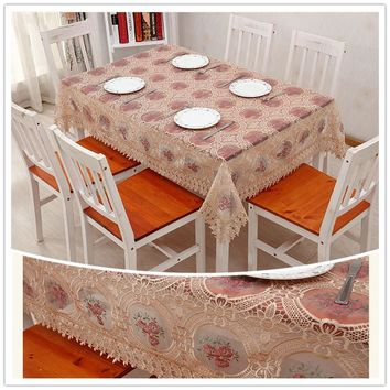 JUYAGN. Pastoral style small flowers transparent tablecloth. High quality glass yarn embroidery tablecloth, coffee table cloth.