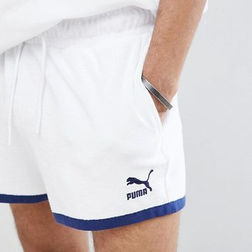 Puma Organic Cotton Towelling Shorts In White Exclusive To ASOS at asos.com