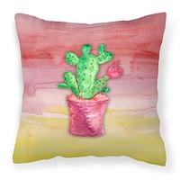 Flowering Cactus Watercolor Fabric Decorative Pillow BB7361PW1414