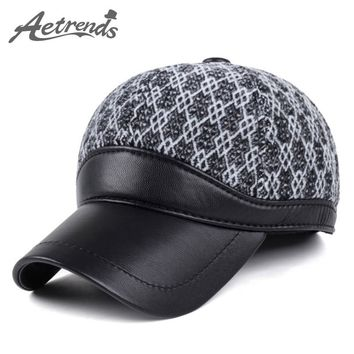 [AETRENDS] Winter Men's Plaid Baseball Cap with Ears Warm Polo Hats Z-3859
