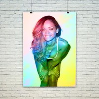 Rihanna Colorful Poster Print Wall Decor Canvas Print - piegabags.com
