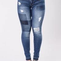Patched Up Jeans - Dark Wash