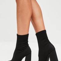 Missguided - Black Flared Heel Sock Boots