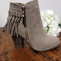 Fringe Booties (Taupe)