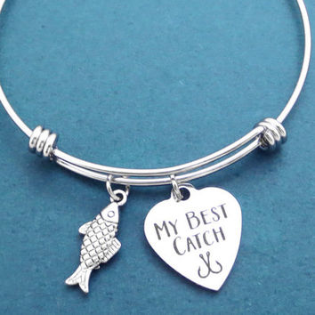 ME BEST CATCH, Fish, Heart, Bangle, Bracelet, You are my best catch, Fishing, Hook, Bangle, Lovers, Best friend, Gift, Jewelry