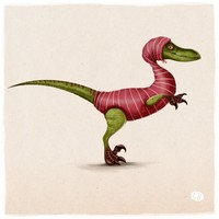 Raptor in a tight Sweater, an art print by Caroline Born
