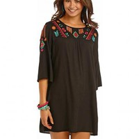 Rock and Roll Cowgirl Black Shift Flare Sleeve Dress - Sheplers