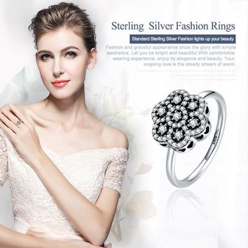 Heart Pave Clear CZ Flower Finger Rings