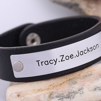 Personalized Leather Bracelet - Hand Stampled Mens Leather Bracelet - Gift for Men - Anniversary Gift
