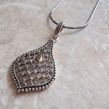 """Sterling Marcasite Necklace Large Pear Shape 18"""" Inch Black Rhodium Snake Chain Vintage CW0183"""
