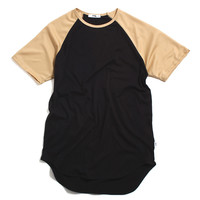 Raglan Original Long T-Shirt Black / Vegas Gold