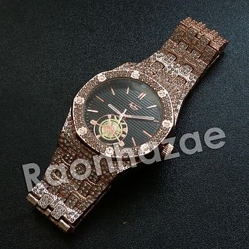 Iced Out Hip Hop Rose Gold Techno Pave Dark Face Wrist Watch